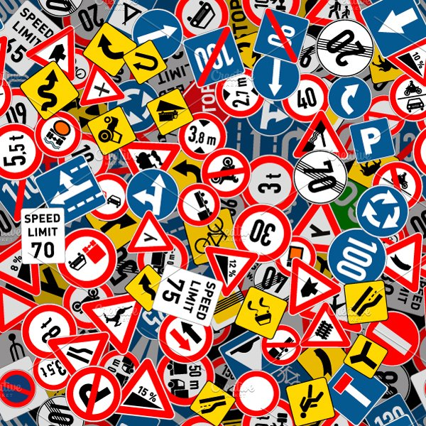 road signs seamless pattern  predesigned illustrator