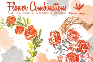 Watercolor Flower combinations
