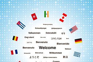 Welcome phrases and flags