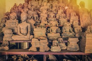 Ancient Buddha Art in wat Sisaket