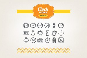 Hand drawn clock icons