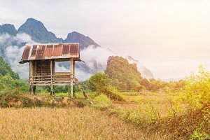 Cottage or hut with mountain