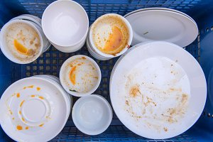 Dirty of dish and kitchenware