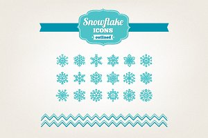 Hand drawn snowflake icons