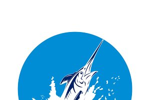 Blue Marlin Swordfish Jumping