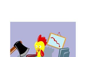 Rooster Chicken Office Worker