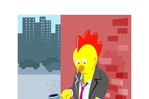 Rooster Chicken Unemployed Worker