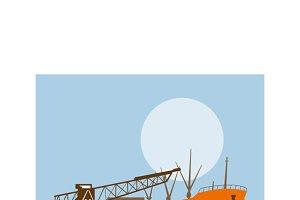 Boom Crance Loading Cargo Ship