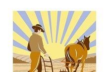 Farmer Horse Plowing Farm