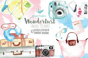 Wanderlust watercolor illustrations