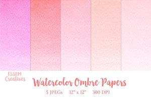 Pink Ombre Watercolor Papers