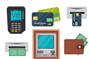 Cash machine vector icons