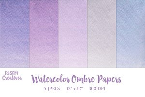 Purple Watercolor Ombre Papers
