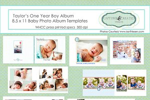 One Year Boy Album/Book Templates