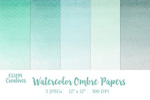 Nautical Watercolor Ombre Papers