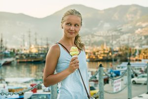 Young woman with turkish ice cream