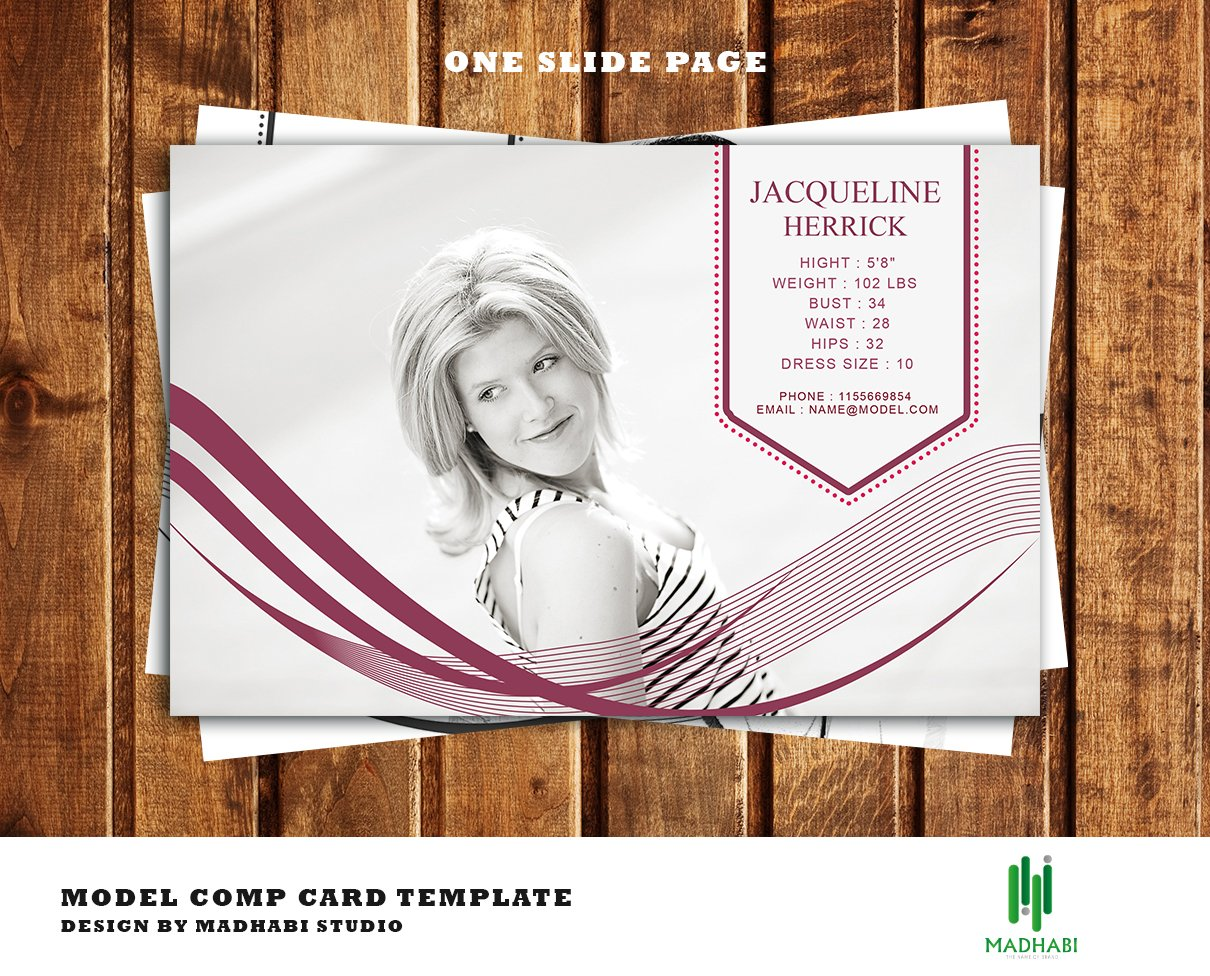 One page modeling comp card card templates creative market for Free comp card template