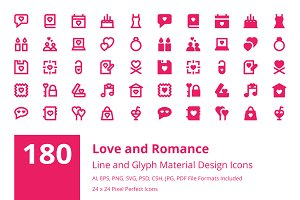 180 Love and Romance Material Icons