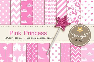 Pink Princess Digital Papers