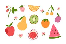 Some fruits and berries set
