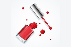 Red Nail Polish. Vector