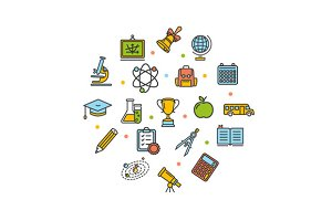 School Round Design Icons