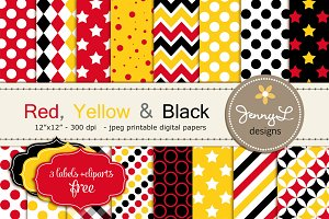 Red Yellow Black Digital Papers