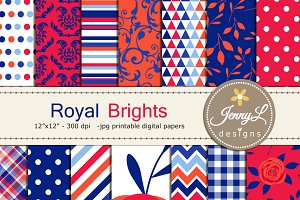 Royal Blue Floral Digital Papers