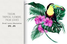 Toucan,tropical flowers illustration