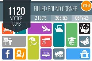 1120 Flat Round Corner Icons (V6)