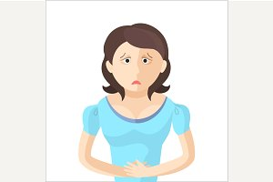 Woman have an abdominal pain