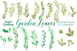 Watercolor Garden Leaves Clipart SET