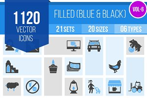 1120 Blue & Black Icons (V6)