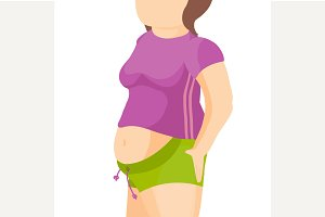 Abdomen fat, overweight woman