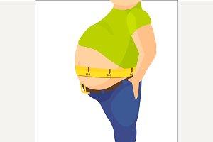 Abdomen fat, overweight man