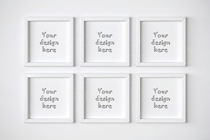 Set of 6 square frame mockups