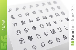 Farm Line Icons Set