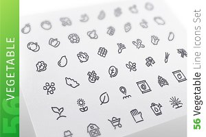 Vegetable Line Icons Set