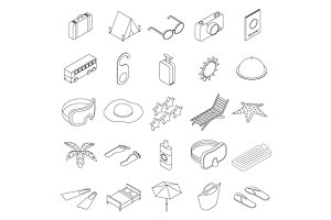 Travel icons set, isometric 3d style