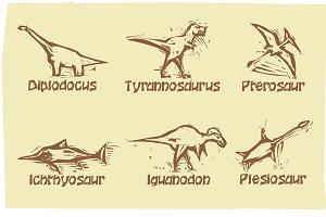 Woodcut Dinosaurs