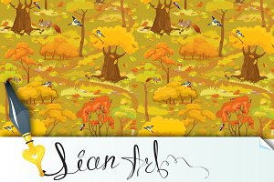 Seamless pattern - Autumn Forest