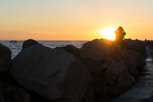 Photographing the sea at sunset