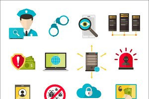 Safety icons virus cyber attack