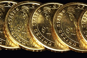 one US dollar coins