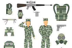 Weapon and uniform vector