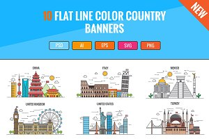 10 Flat Line Color Country Banners