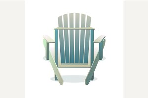 Adirondack wooden chair from back