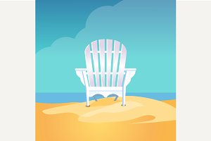 Adirondack chair on the sea beach