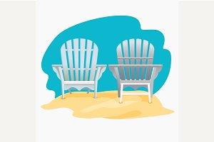 Adirondack chair on the sand