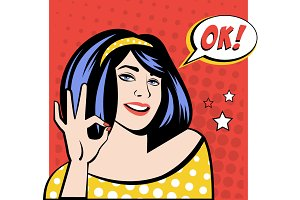 Girl with OK Speech Bubble in Popart